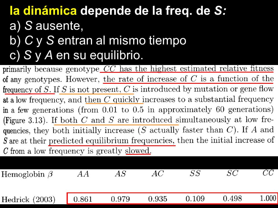 la dinámica depende de la freq. de S: