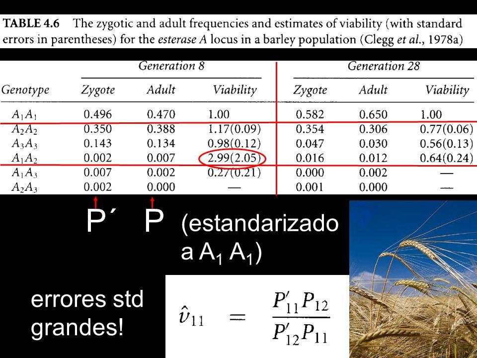 P´ P (estandarizado a A1 A1) errores std grandes!