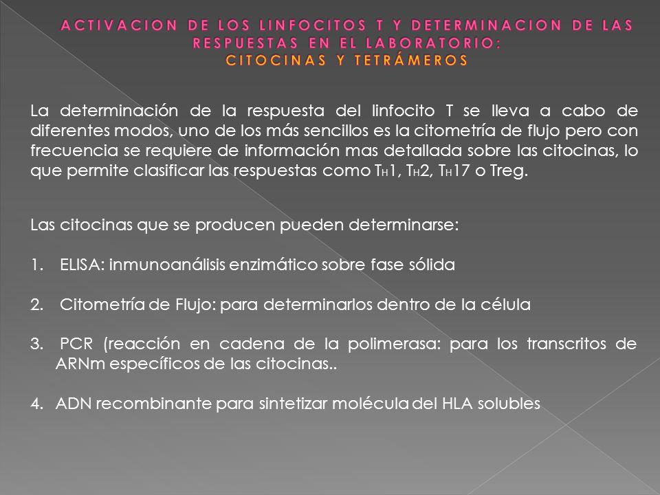 Las citocinas que se producen pueden determinarse: