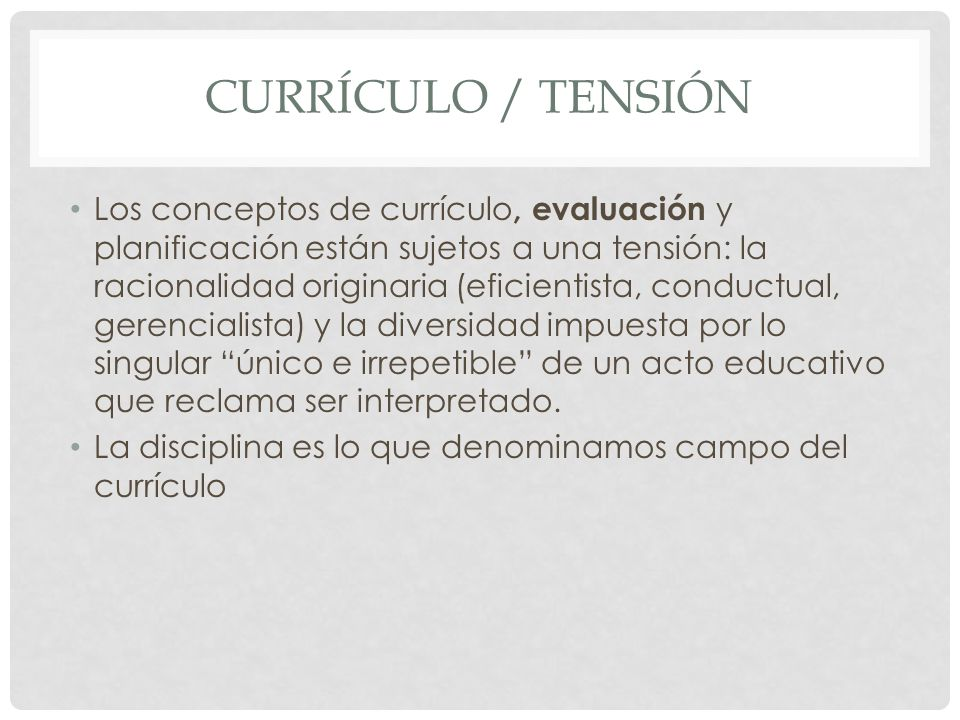 Currículo / tensión