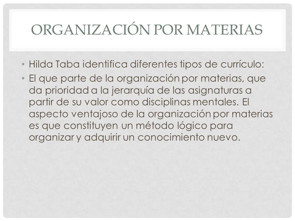 Organización por materias