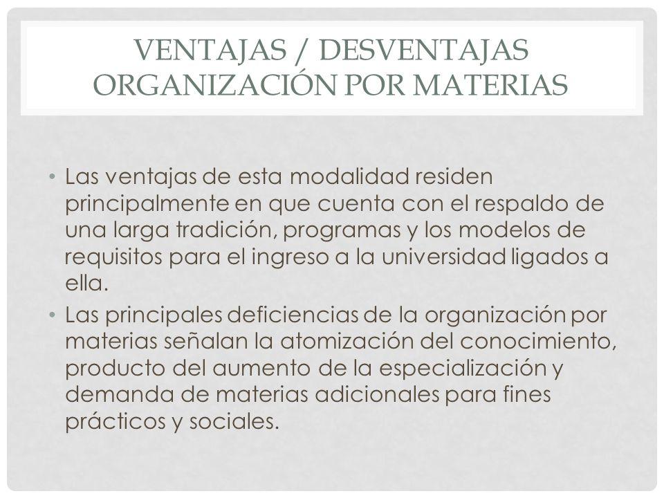 Ventajas / desventajas organización por materias
