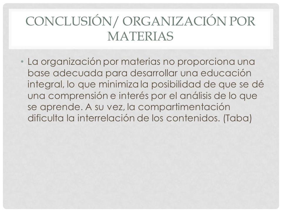 Conclusión/ organización por materias
