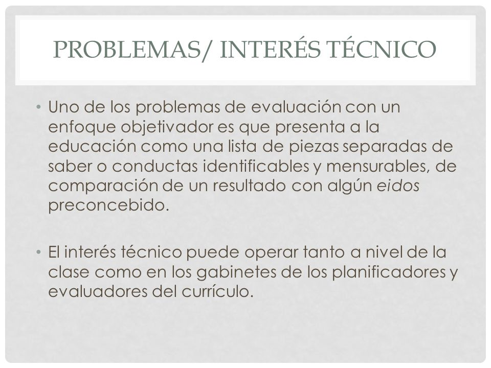 Problemas/ interés técnico