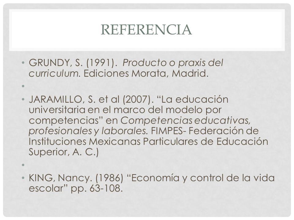 Referencia GRUNDY, S. (1991). Producto o praxis del curriculum. Ediciones Morata, Madrid.