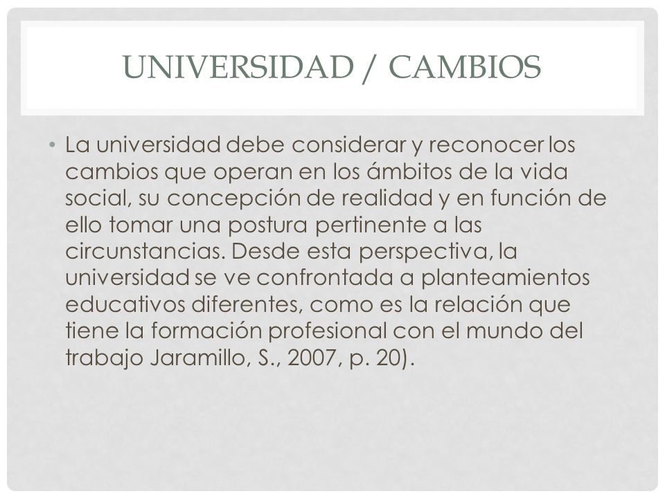Universidad / cambios