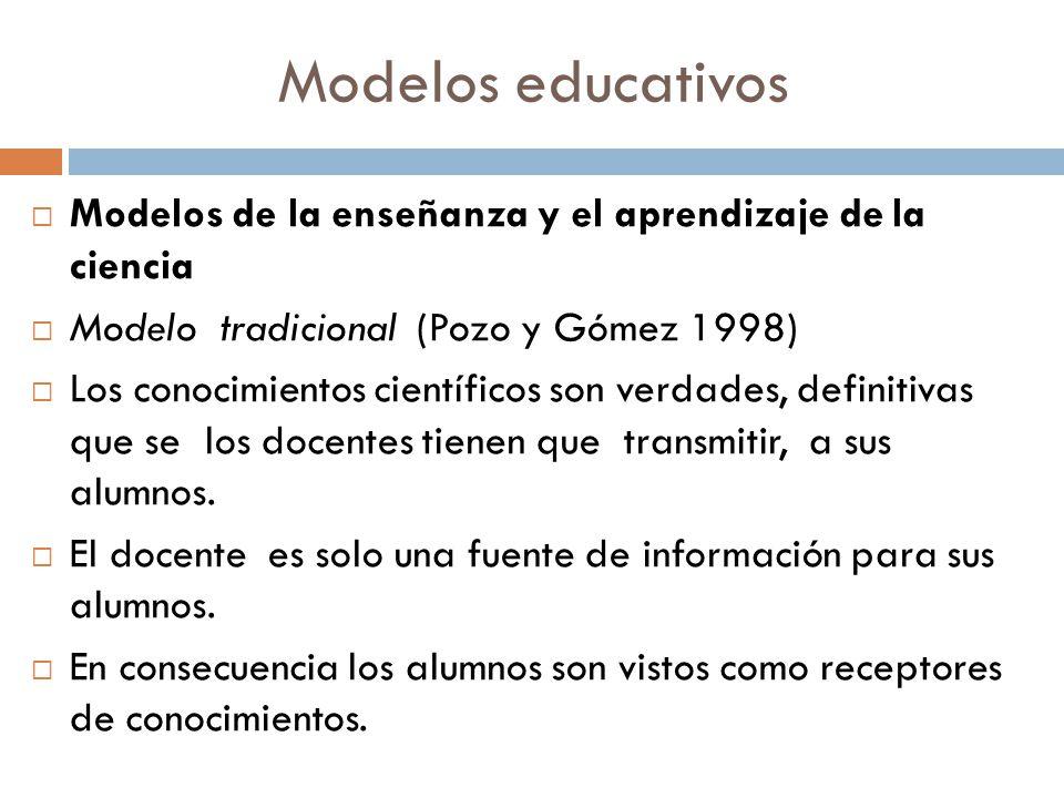 Modelos educativos Modelos de la enseñanza y el aprendizaje de la ciencia. Modelo tradicional (Pozo y Gómez 1998)