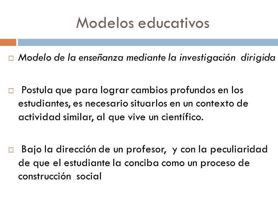 Modelos educativos Modelo de la enseñanza mediante la investigación dirigida.