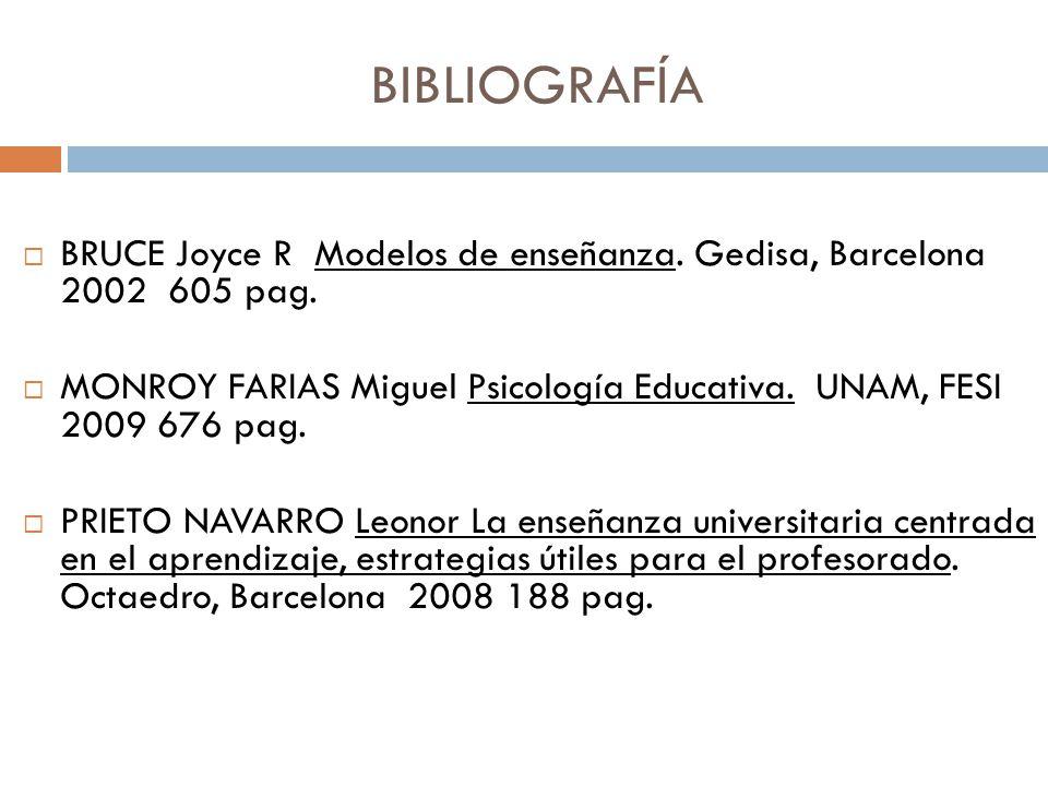 BIBLIOGRAFÍA BRUCE Joyce R Modelos de enseñanza. Gedisa, Barcelona 2002 605 pag.