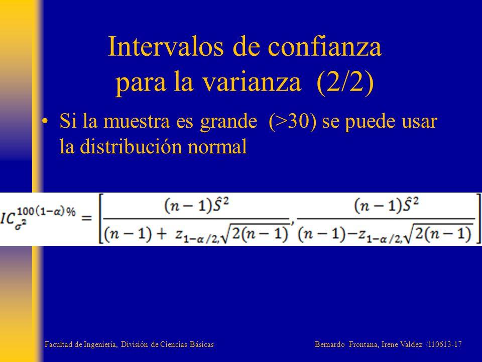 Intervalos de confianza para la varianza (2/2)