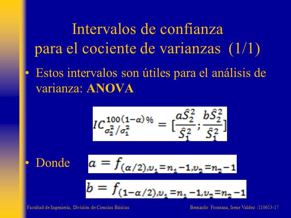 Intervalos de confianza para el cociente de varianzas (1/1)