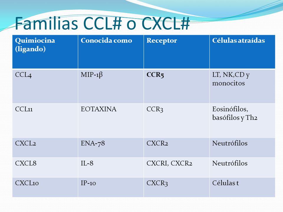 Familias CCL# o CXCL# Quimiocina (ligando) Conocida como Receptor