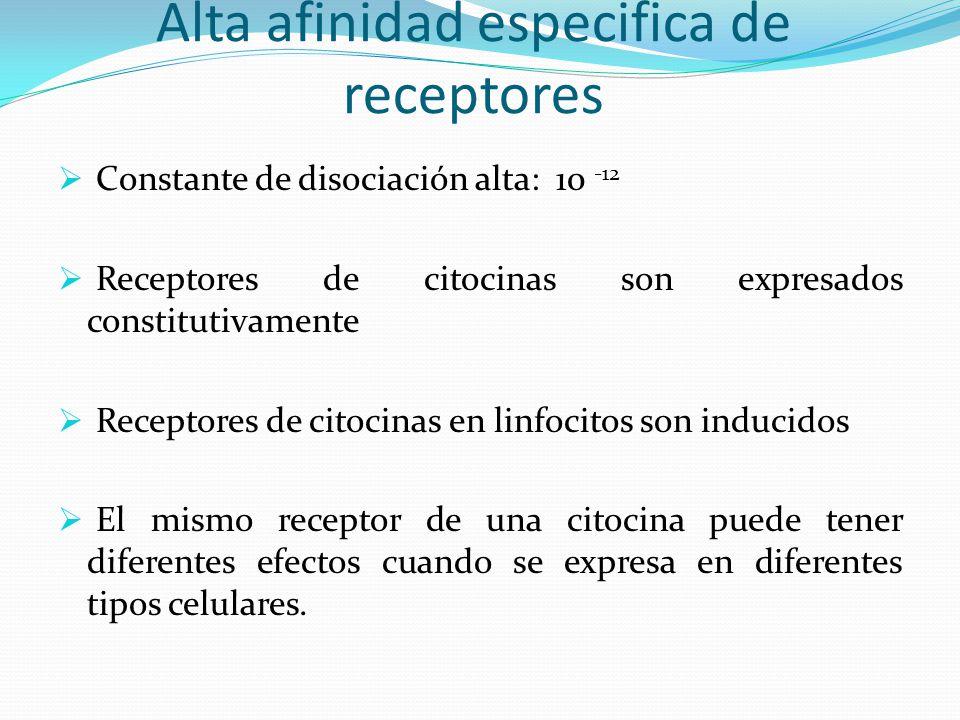 Alta afinidad especifica de receptores