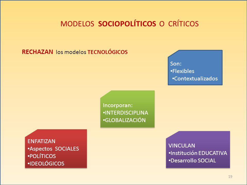 MODELOS SOCIOPOLÍTICOS O CRÍTICOS