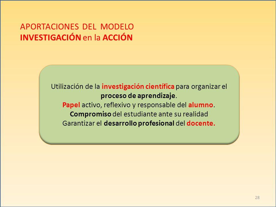APORTACIONES DEL MODELO INVESTIGACIÓN en la ACCIÓN