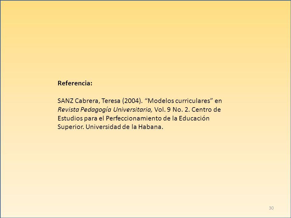 Referencia: SANZ Cabrera, Teresa (2004). Modelos curriculares en. Revista Pedagogía Universitaria, Vol. 9 No. 2. Centro de.