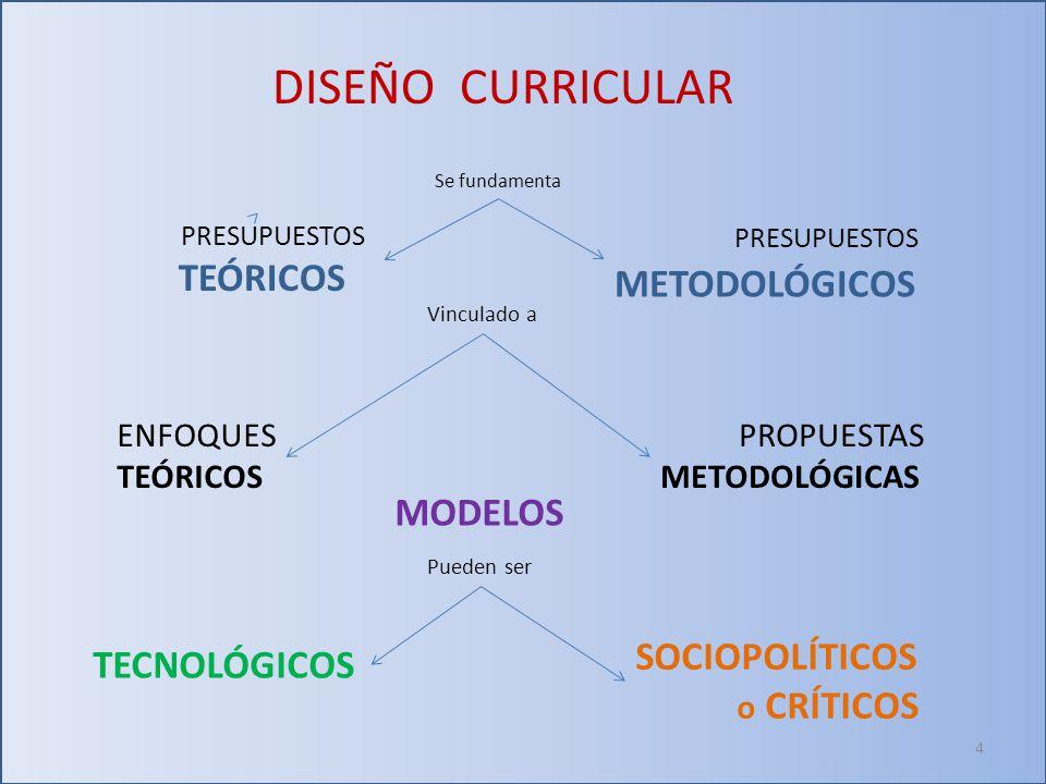 DISEÑO CURRICULAR PRESUPUESTOS TEÓRICOS METODOLÓGICOS MODELOS