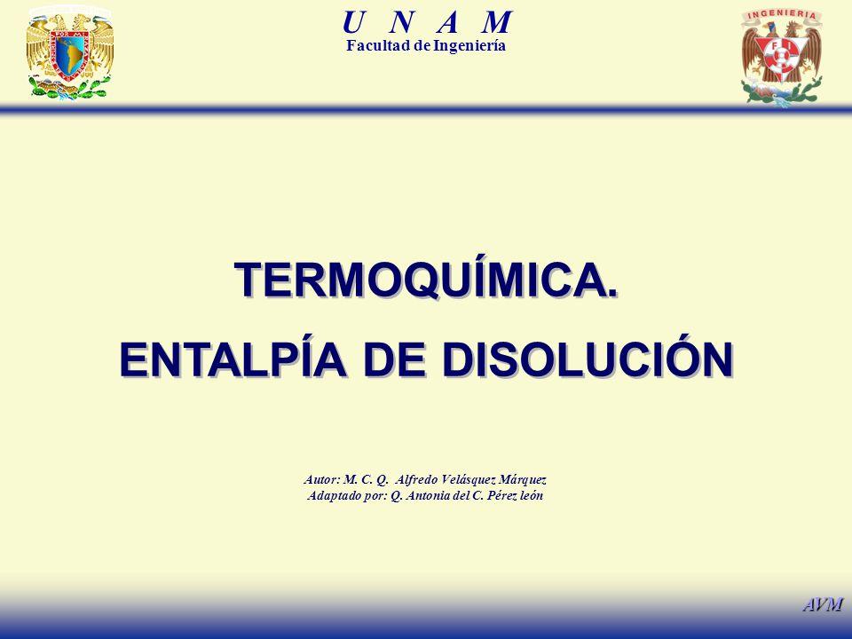TERMOQUÍMICA. ENTALPÍA DE DISOLUCIÓN