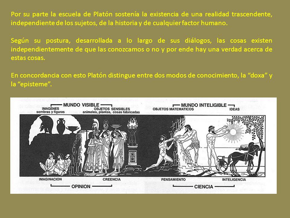 Por su parte la escuela de Platón sostenía la existencia de una realidad trascendente, independiente de los sujetos, de la historia y de cualquier factor humano.