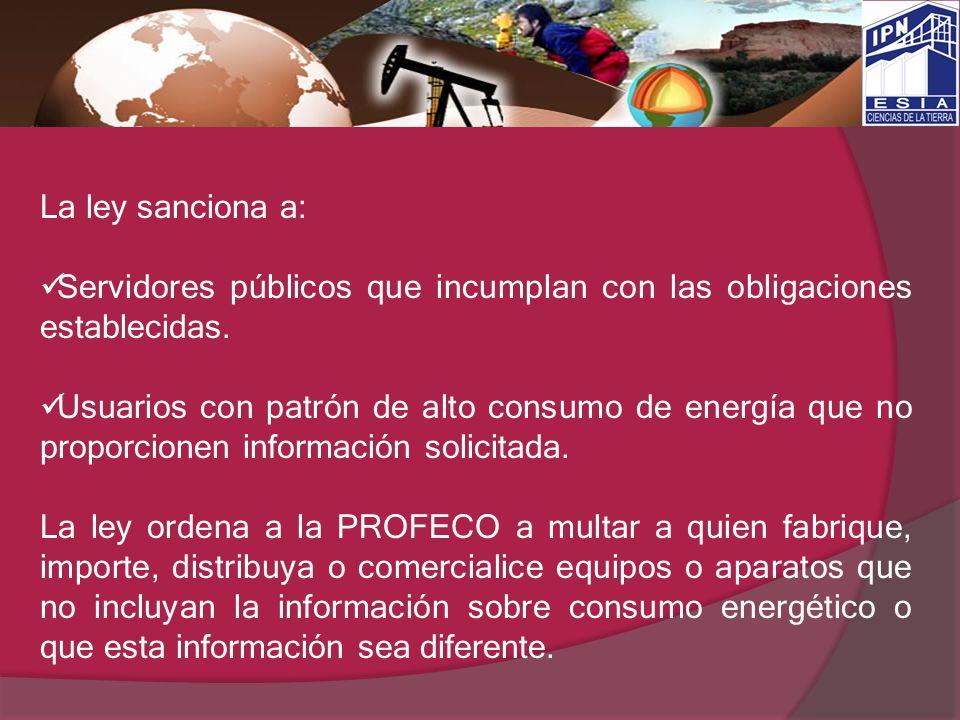La ley sanciona a: Servidores públicos que incumplan con las obligaciones establecidas.