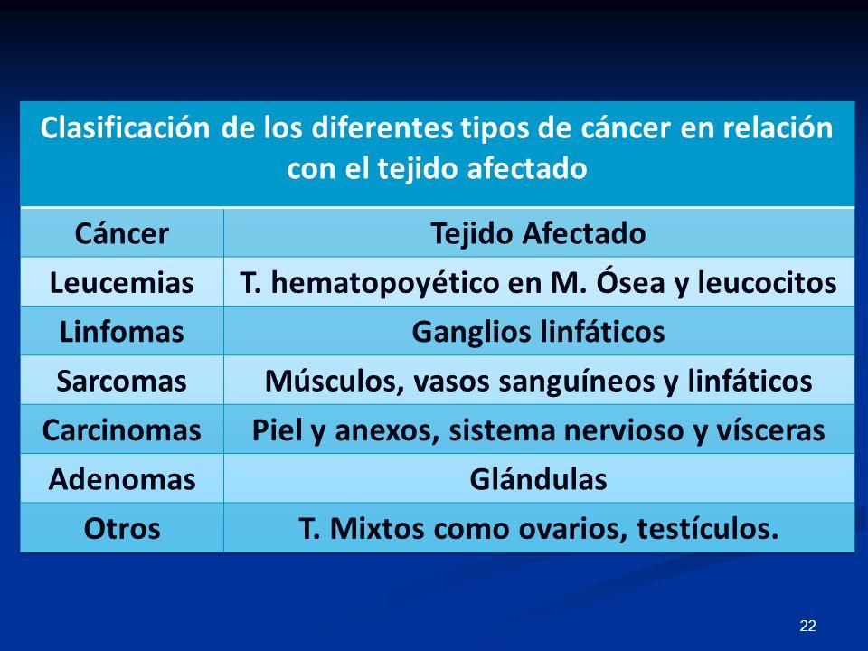 T. hematopoyético en M. Ósea y leucocitos Linfomas Ganglios linfáticos