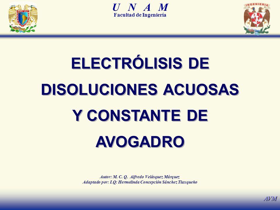 ELECTRÓLISIS DE DISOLUCIONES ACUOSAS Y CONSTANTE DE AVOGADRO