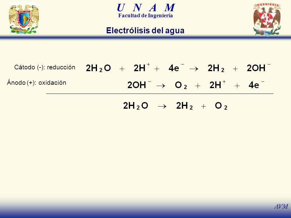 Electrólisis del agua Cátodo (-): reducción Ánodo (+): oxidación