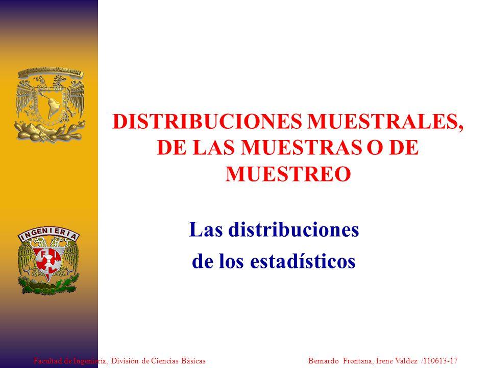 DISTRIBUCIONES MUESTRALES, DE LAS MUESTRAS O DE MUESTREO