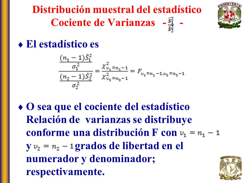 Distribución muestral del estadístico Cociente de Varianzas - -