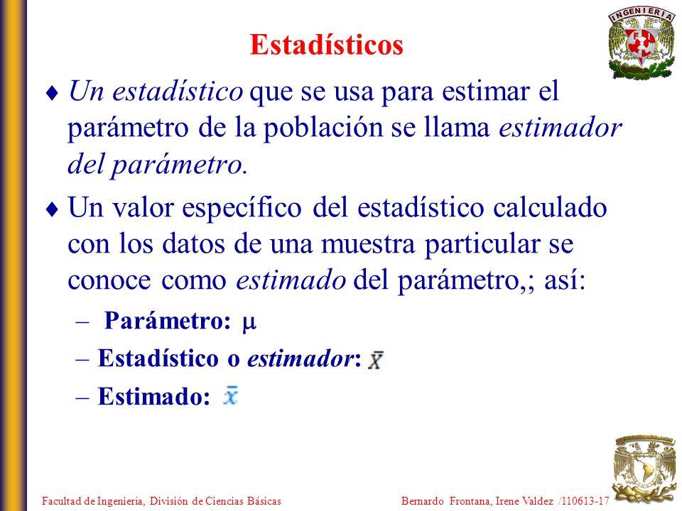 Estadísticos Un estadístico que se usa para estimar el parámetro de la población se llama estimador del parámetro.