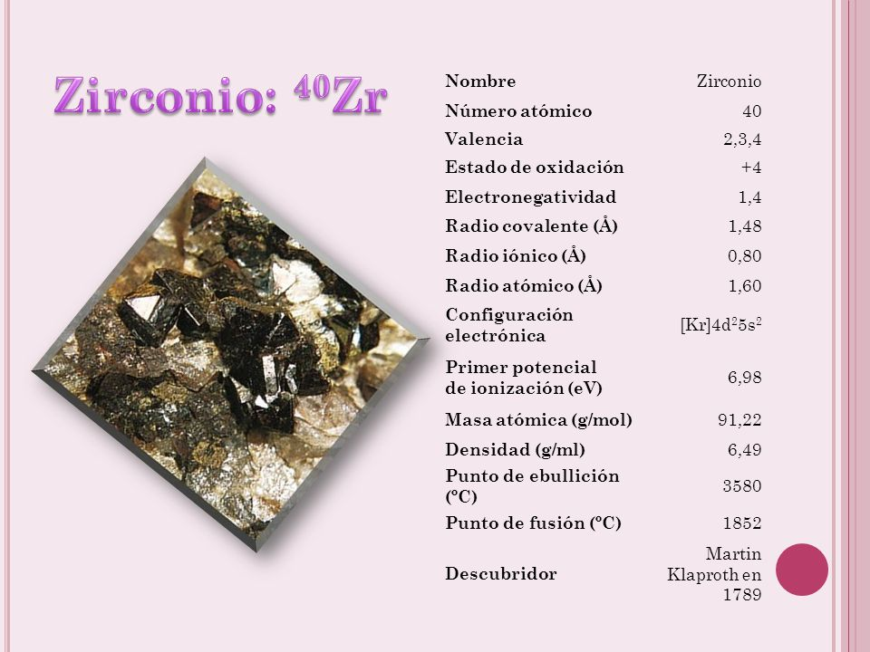 Zirconio: 40Zr Nombre Zirconio Número atómico 40 Valencia 2,3,4