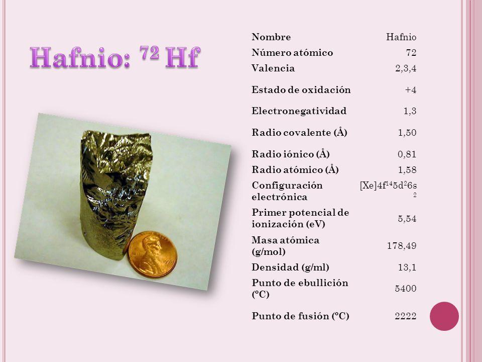 Hafnio: 72 Hf Nombre Hafnio Número atómico 72 Valencia 2,3,4