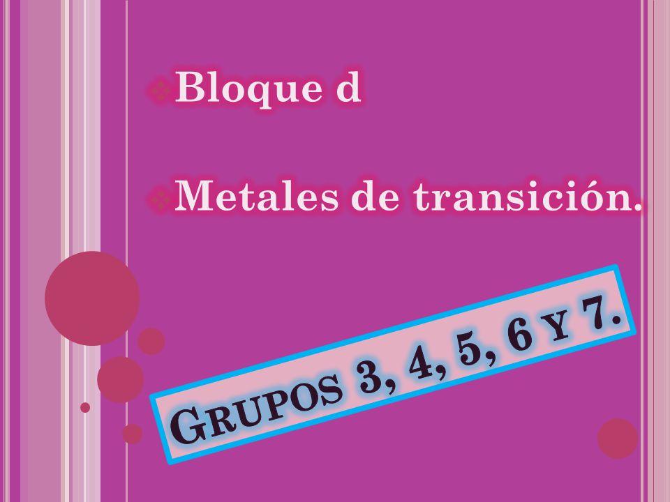 Bloque d Metales de transición. Grupos 3, 4, 5, 6 y 7.
