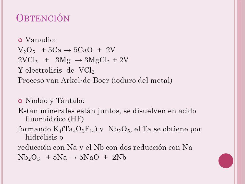 Obtención Vanadio: V₂O₅ + 5Ca → 5CaO + 2V 2VCl₃ + 3Mg → 3MgCl₂ + 2V