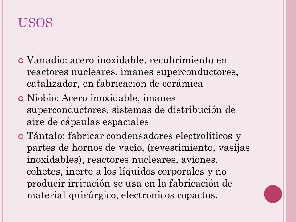 USOS Vanadio: acero inoxidable, recubrimiento en reactores nucleares, imanes superconductores, catalizador, en fabricación de cerámica.