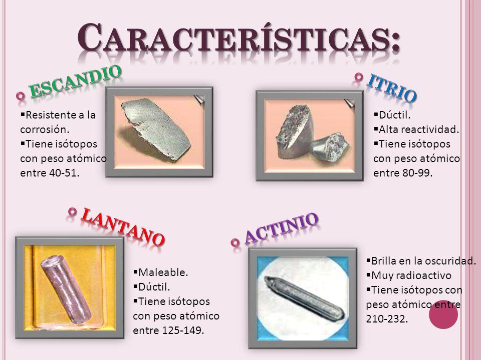Características: Escandio Itrio Lantano Actinio