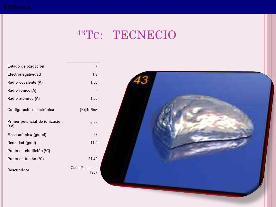43Tc: TECNECIO Valencia Estado de oxidación 7 Electronegatividad 1,9