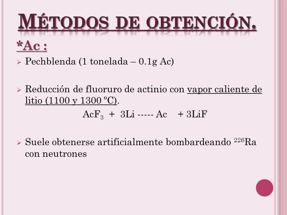Métodos de obtención. *Ac : Pechblenda (1 tonelada – 0.1g Ac)