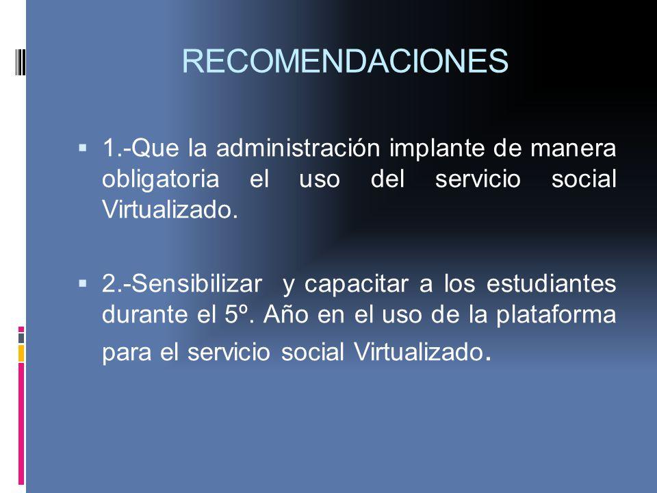 RECOMENDACIONES 1.-Que la administración implante de manera obligatoria el uso del servicio social Virtualizado.