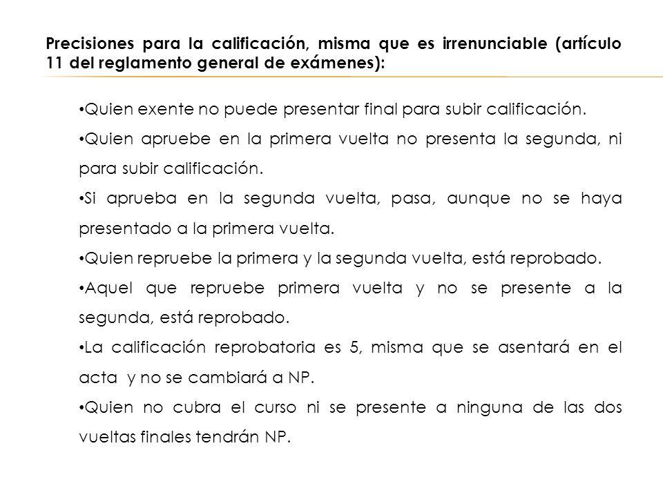 Precisiones para la calificación, misma que es irrenunciable (artículo 11 del reglamento general de exámenes):