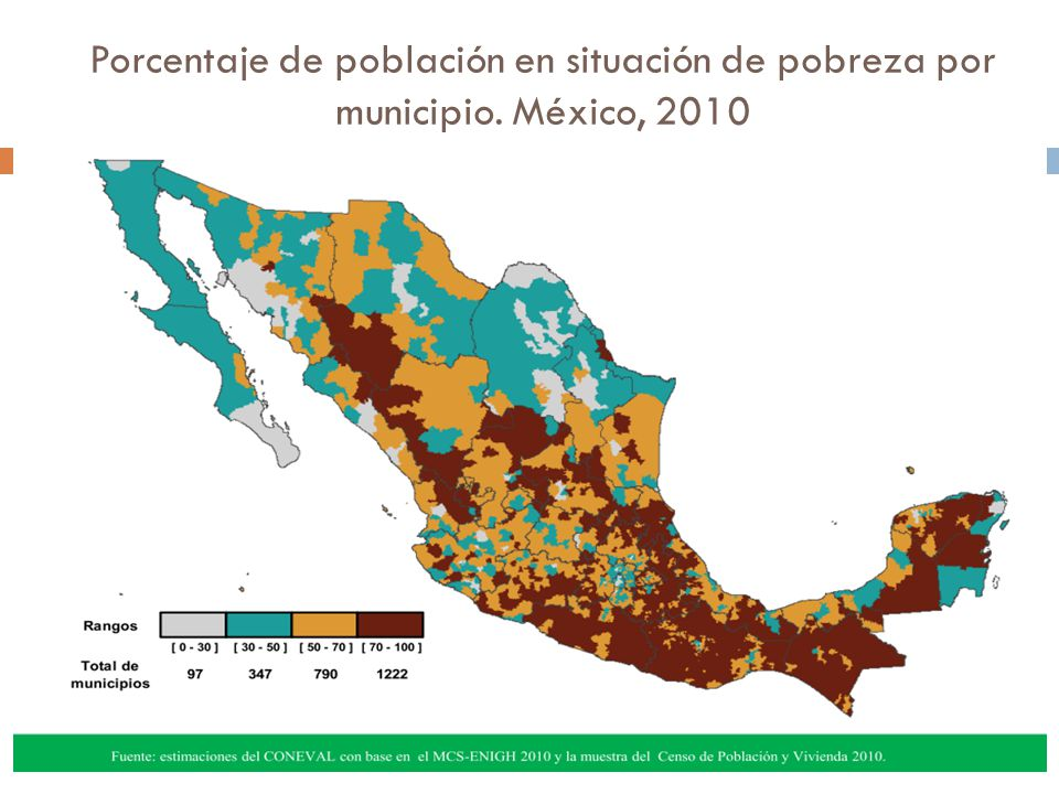 Porcentaje de población en situación de pobreza por municipio
