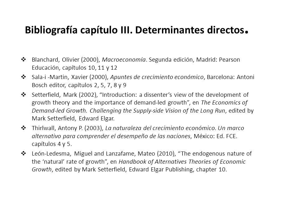 Bibliografía capítulo III. Determinantes directos.