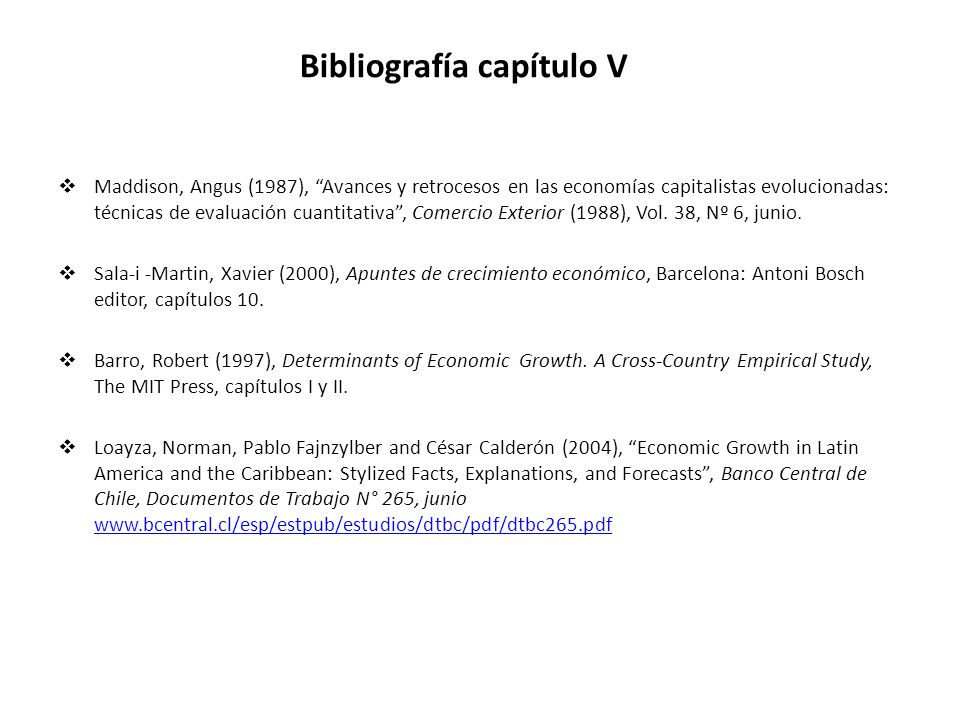 Bibliografía capítulo V