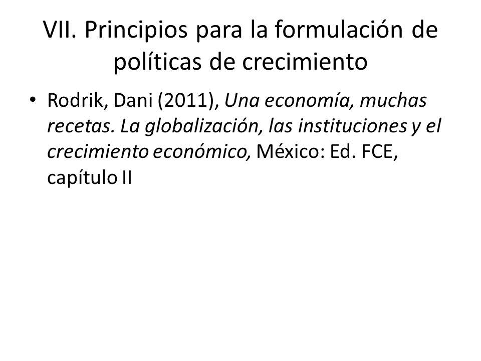 VII. Principios para la formulación de políticas de crecimiento