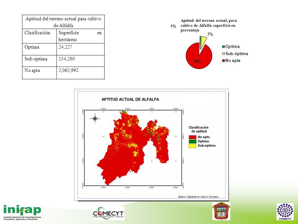 Aptitud del terreno actual para cultivo de Alfalfa