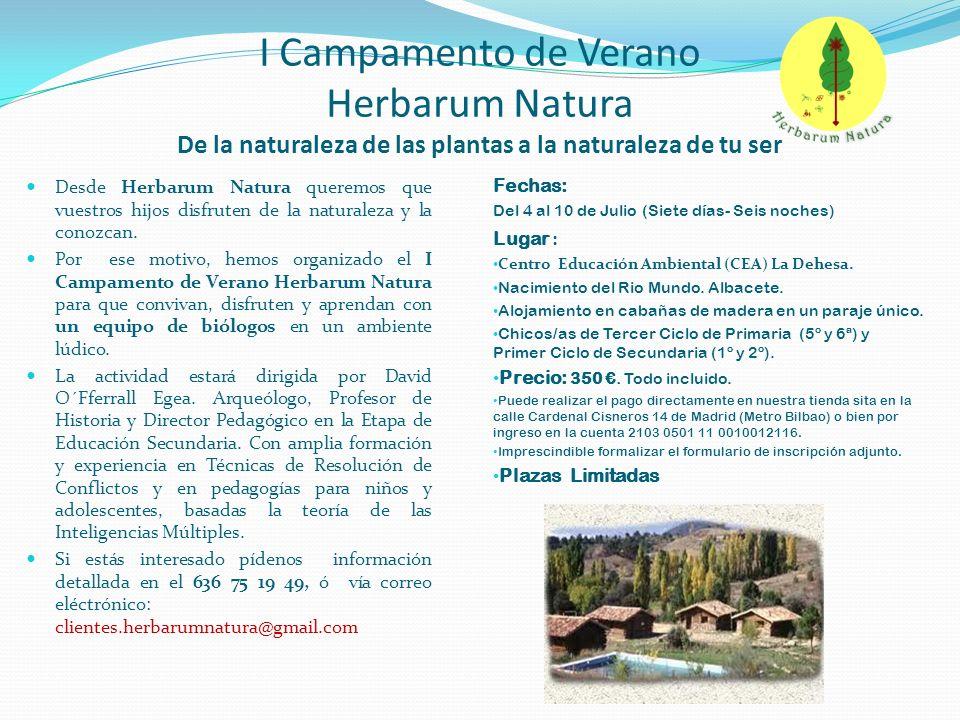 I Campamento de Verano Herbarum Natura De la naturaleza de las plantas a la naturaleza de tu ser