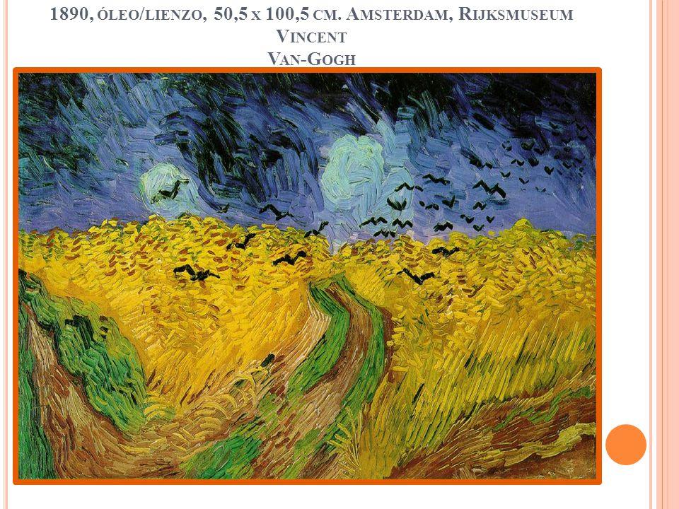 Campo de trigo con cuervos volando , Auvers, julio de 1890, óleo/lienzo, 50,5 x 100,5 cm.