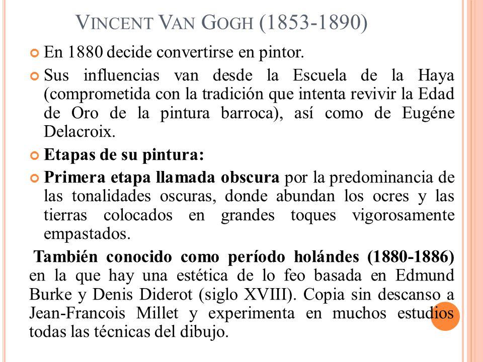 Vincent Van Gogh (1853-1890) En 1880 decide convertirse en pintor.