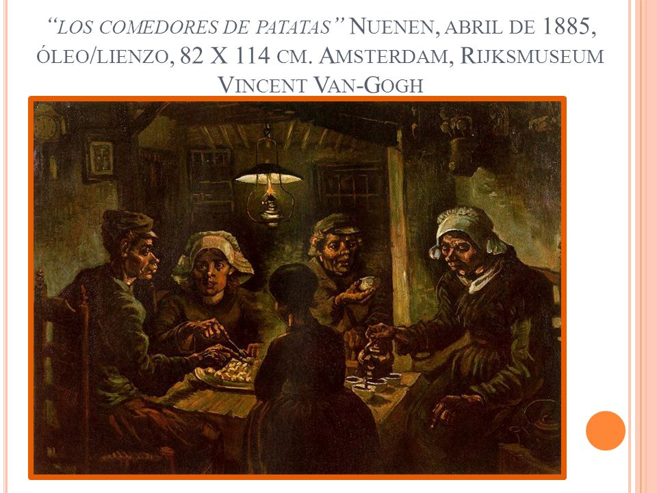 los comedores de patatas Nuenen, abril de 1885, óleo/lienzo, 82 X 114 cm.