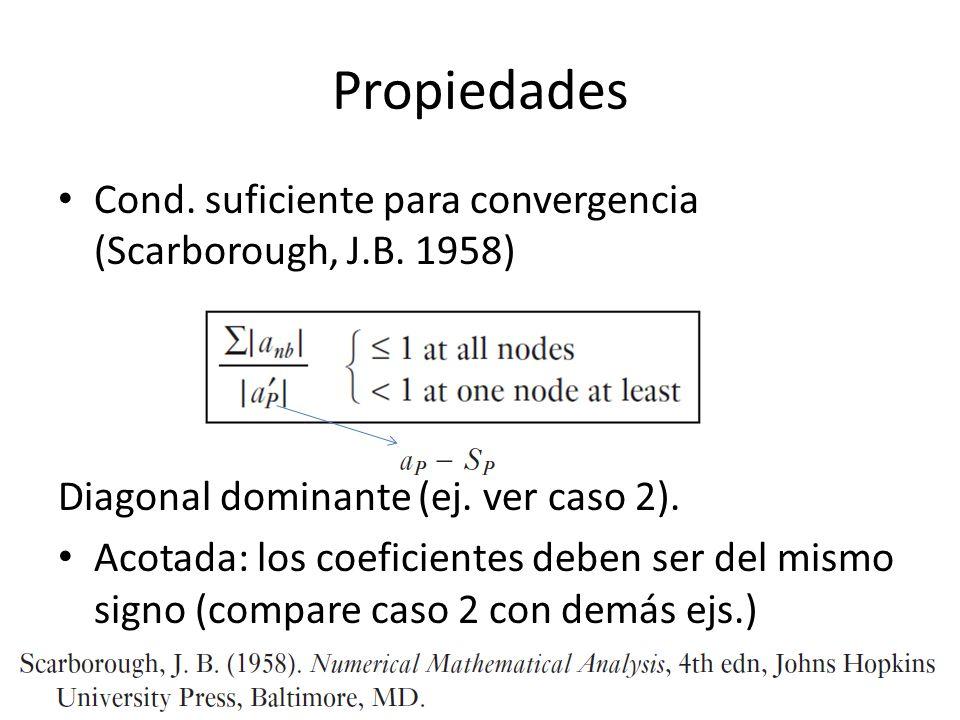 Propiedades Cond. suficiente para convergencia (Scarborough, J.B. 1958) Diagonal dominante (ej. ver caso 2).